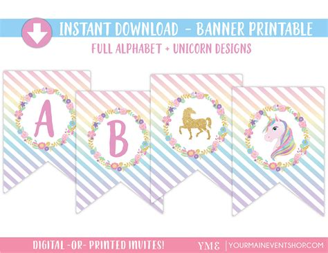 printable unicorn birthday banner unicorn party printable banner unicorn birthday party banner
