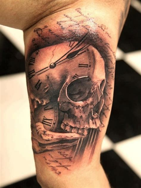 skull clock tattoo 40 best skull designs