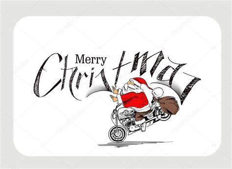 Motorrad Weihnachten Bilder by Santa Claus Auf Einem Motorrad Frohe Weihnachten