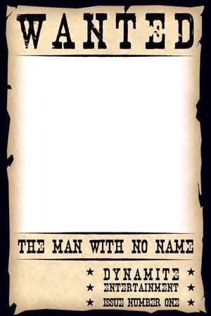 Dynamite 174 Man With No Name 1 Quot Wanted Poster Quot Blank Cover Dynamite Authentix Cover A Murderer Poster Template