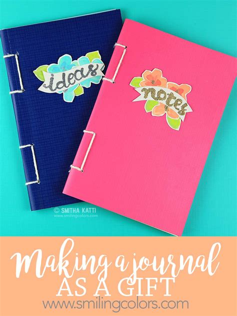 Handmade Journal Ideas - handmade journal gift smiling colors