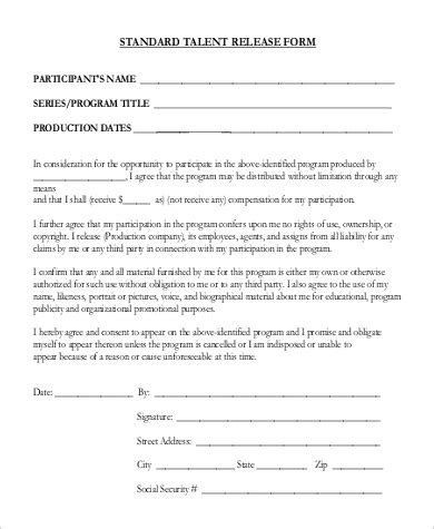 Standard Photo Release Form Media Release Form Word Document Of Standard Location Release Form Standard Media Release Form Template