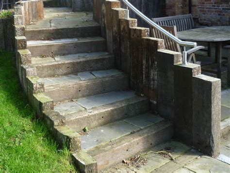 Used Railway Sleepers Kingfisher Walls Steps Patio With Used Railway Sleepers