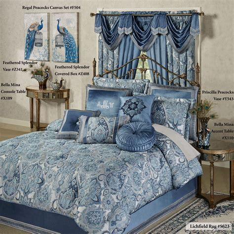 blue damask bedding arabelle jacobean damask blue comforter bedding
