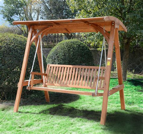 garden swing bench wood 3 seater larch wood wooden garden swing chair seat hammock