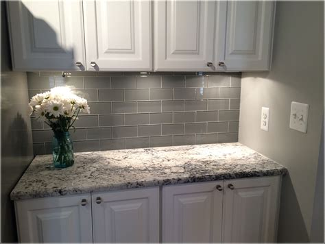 subway glass tile backsplash grey subway tile backsplash tiles home design ideas