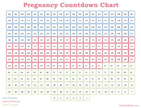 countdown chart template pregnancy week by week calendar printable calendar