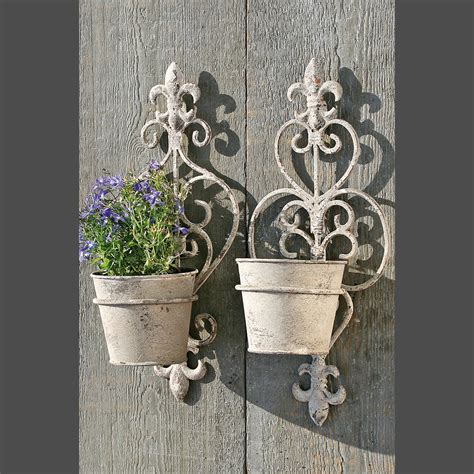 wall mounted plant holder vintage wrought iron wall mounted plant pot holders in