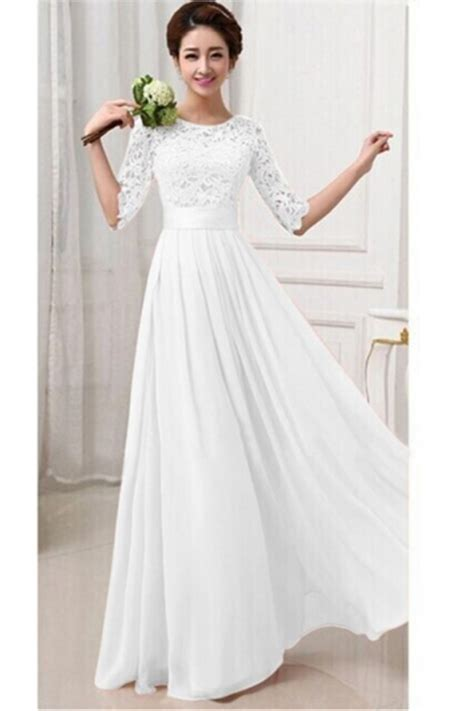 Dress Import 26027 White Floral Chiffon Dress maxi evening dresses with sleeves www pixshark