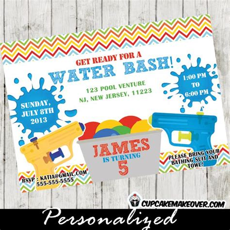 free printable birthday invitations water printable water gun birthday invitation for boys this