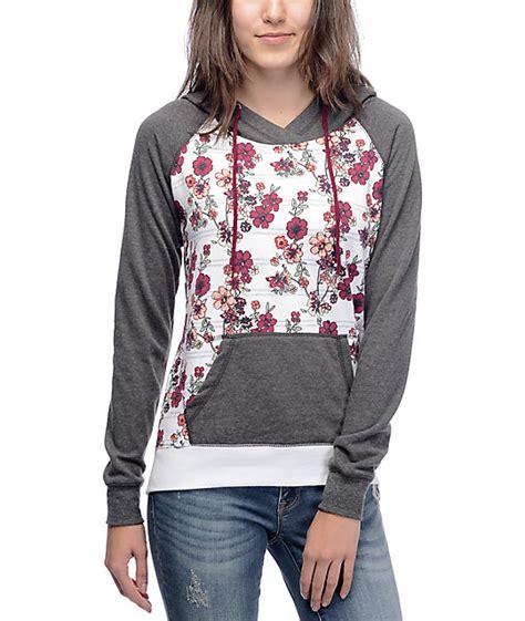 flower pattern hoodies empyre larissa white floral hoodie zumiez