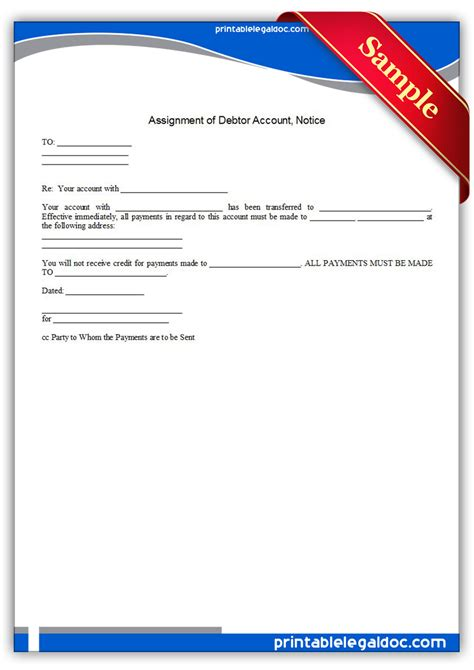 Notice Of Assignment Letter Of Credit Free Printable Assignment Of Debtor Account Notice Form
