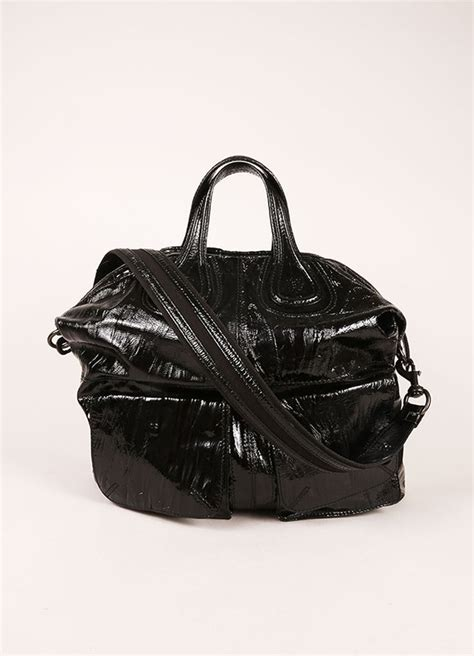 Givenchy Patent Two Pocket Nightingale by Givenchy Black Crinkle Patent Leather Two Pocket