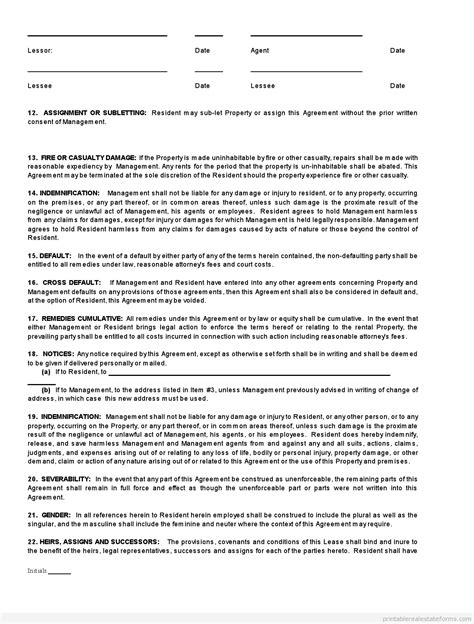 printable real estate lease agreement free standard real estate lease agreement buying form