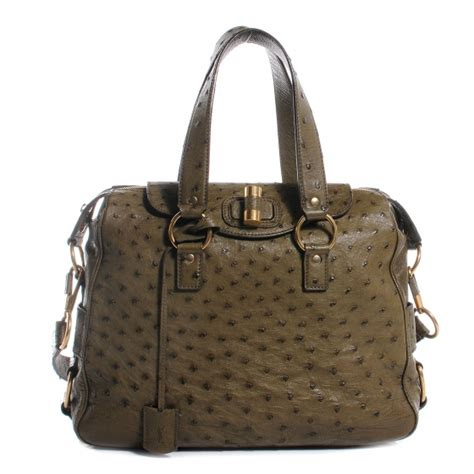 Miller Ysl Ostrich Rive Gauche Bag by Ysl Yves Laurent Ostrich Rive Gauche Medium Jungle 57078