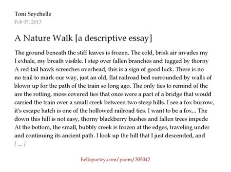 Nature Descriptive Essay by Descriptive Essays On Running