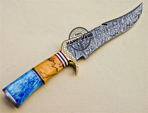 damascus bowie knife custom handmade damascus bowie knife 1039