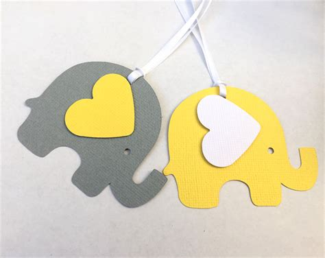Elephant Baby Shower Gifts by Yellow Grey Elephant Baby Shower Gift Tags Favor Tag