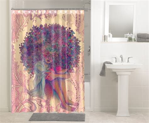 african shower curtains afrocentric afro hair design african 633 shower curtain