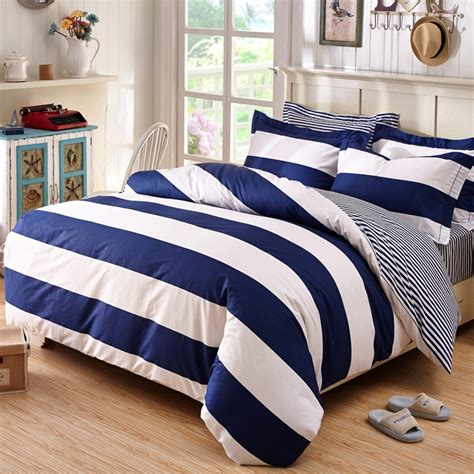 boys striped bedding deep blue and white boys rugby stripe print simply chic