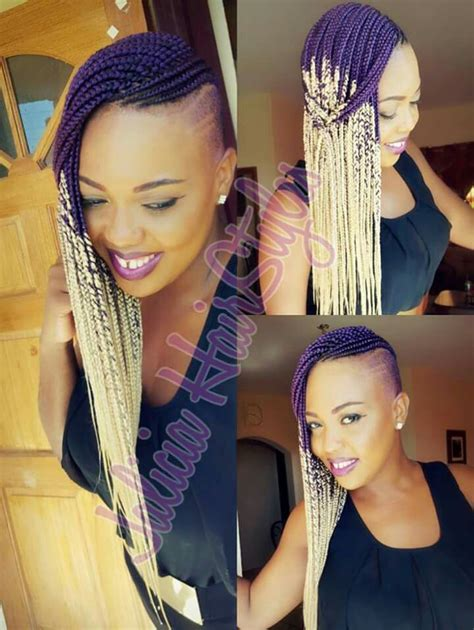 cornrows hairstyes with sides shaved ombre box braids shaved sides natural hair pinterest