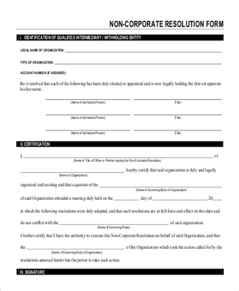 corporate resolution template sle corporate resolution form 9 exles in word pdf