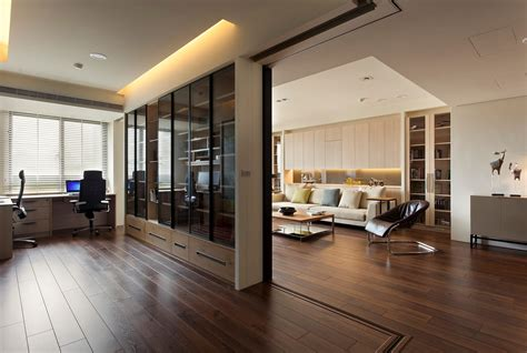 office home apartment with a retractable interior wall