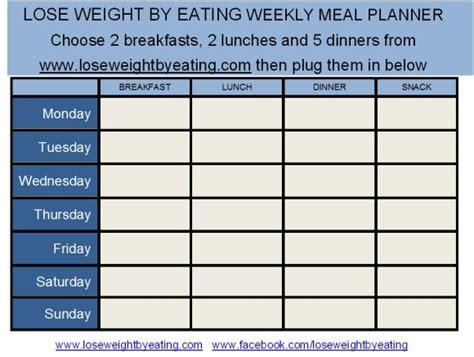 free printable weight loss meal planner lose weight by eating meal planner diet and exercise
