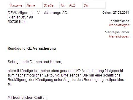 Devk Motorradversicherung by Devk Kfz Versicherung K 252 Ndigung Vorlage Download Chip