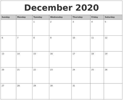 december monthly calendar printable