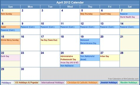 April 2012 Calendar April 2012 Calendar With Holidays As Picture