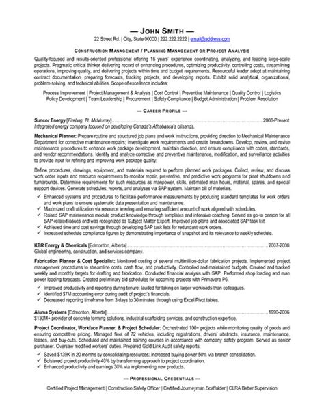 Resume Exles For Construction Supervisor Resume Cover Letter Construction Manager Image Search Results