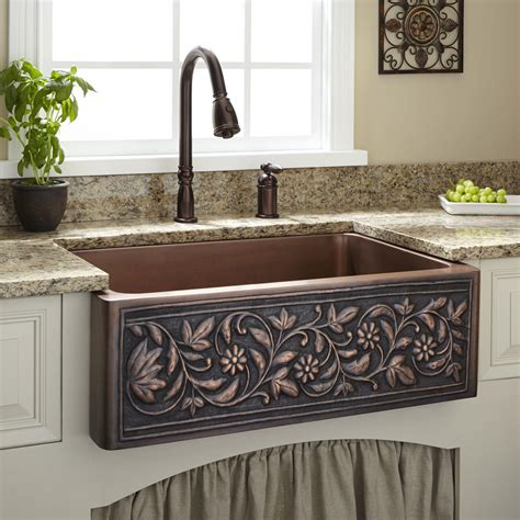 33 quot floral design copper farmhouse sink kitchen