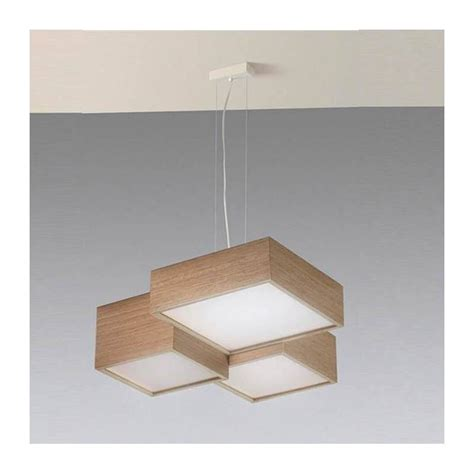 lampara colgante kube led  madera roble ole