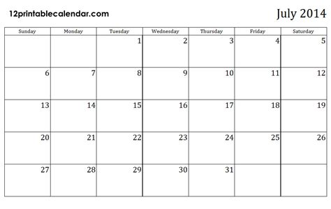 2014 July Calendar 5 Best Images Of July 2014 Calendar Printable Template