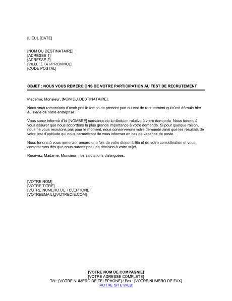 Exemple De Lettre De Départ Remerciement lettre de remerciement pour participation au test