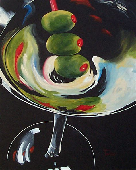 martini glass acrylic painting lobster and a gin martini