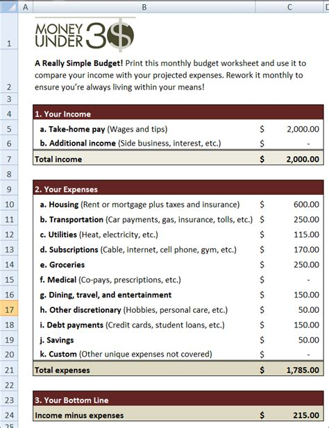 Simple Budget Worksheet Money Under 30 Budget Template For Adults