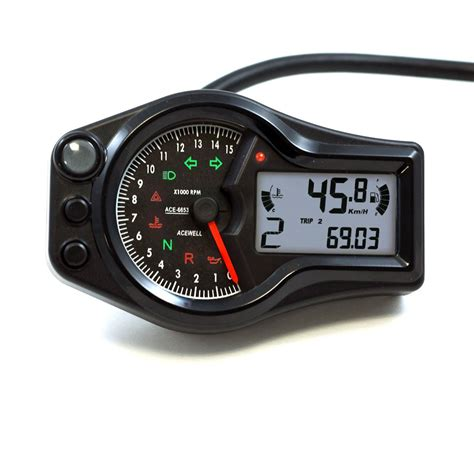 Tacho Motorrad by Black Acewell 6653 W Digital Led Speedometer Tachometer
