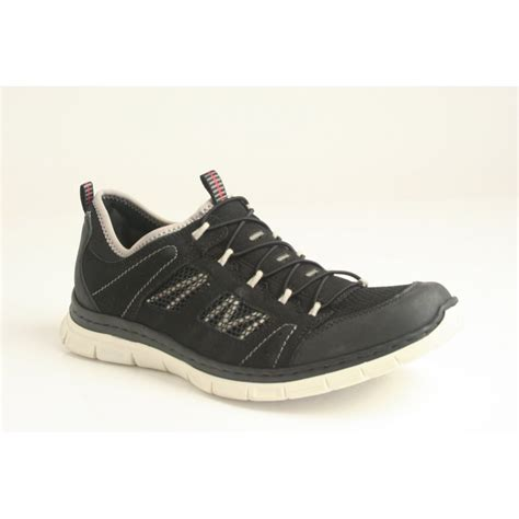 rieker rieker black sports shoe with elasticated fastening
