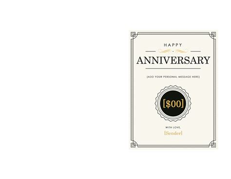 Anniversary Gift Certificate Template Note Card Template