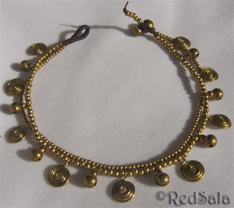 Handmade Ankle Bracelets - handmade anklet ankle bracelet brass bells spiral