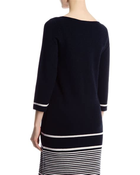 Rima Stripe Blue jaeger wool striped knit dress in blue navy white lyst