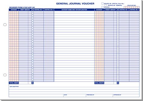 general journal template general journal voucher adp 174 format form solutions inc