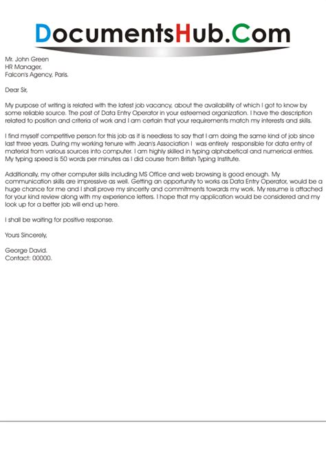 cover letter for data entry cover letter for data entry without experience