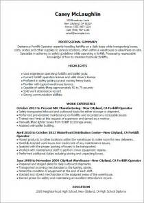 Sle Resume For Forklift Operator by Professional Forklift Operator Templates To Showcase Your Talent Myperfectresume