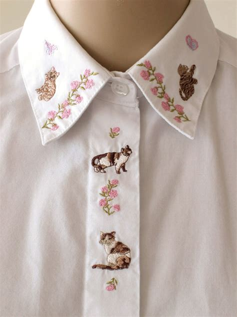 collar with name embroidered embroidered cat collar shirt floral embroidery white blouse