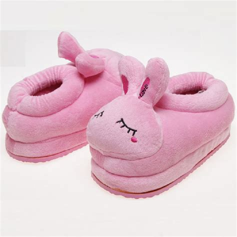 winter anime rabbits pig plush shoes home pink