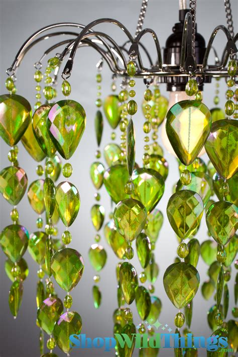 Lime Green Chandelier Lime Green Acrylic Beaded Hanging Chandelier With Iridescent Includes Light Kit