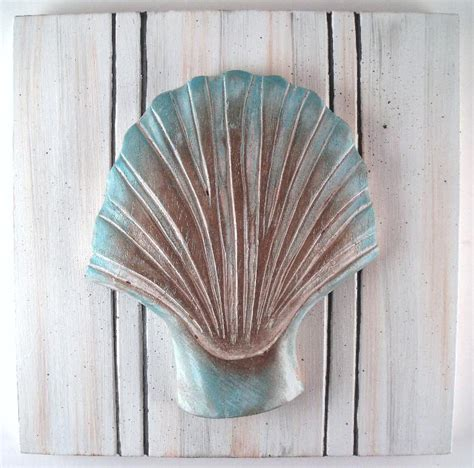Shell Wall Decor by Nautical Sea Shell Beadboard Wall Decor S 3 Ebay